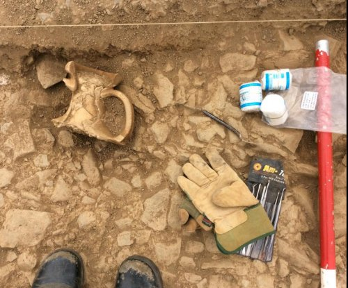 Archaeologists find ancient storage jar under Roman road
