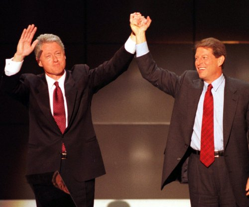 Clinton-Gore celebrate their good fortune
