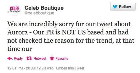 Fashion firm apologizes for 'Aurora' tweet