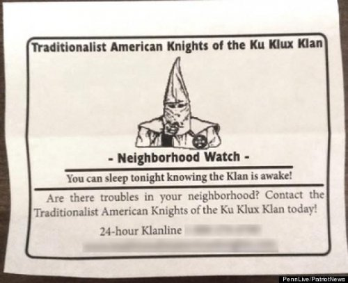 Ku Klux Klan establishes neighborhood watch in Pennsylvania