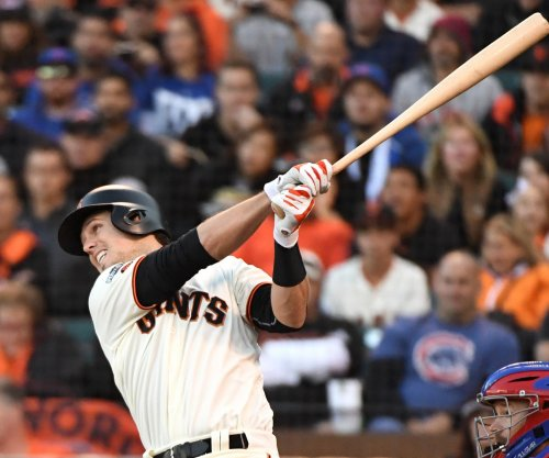 San Francisco Giants C Buster Posey hit in head by pitch