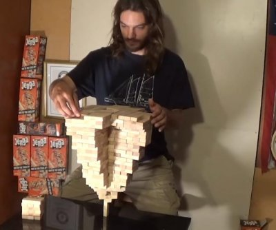 Man stacks 485 Jenga blocks in Guinness record-breaking tower