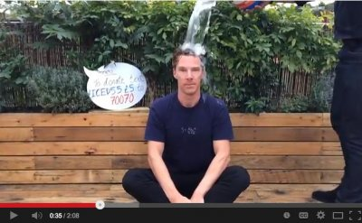 Benedict Cumberbatch doused five times in Ice Bucket Challenge