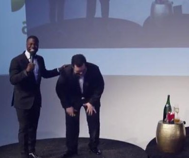 Kevin Hart and Josh Gad crash wedding, give a speech
