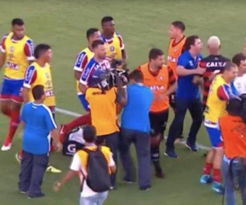 Massive brawl breaks out in Brazilian soccer game