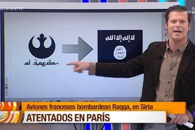Spanish TV reporter confuses 'Star Wars' symbol for al-Qaida logo