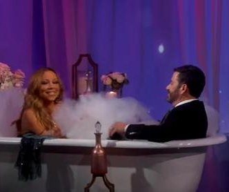 Jimmy Kimmel interviews Mariah Carey in a bathtub