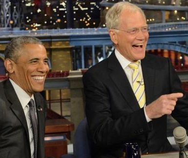 President Obama, David Letterman in retirement - playing dominoes
