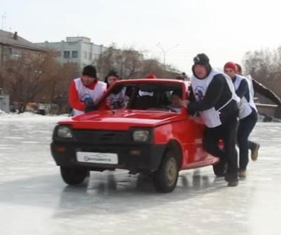 Russians take curling to the next level by using cars as stones