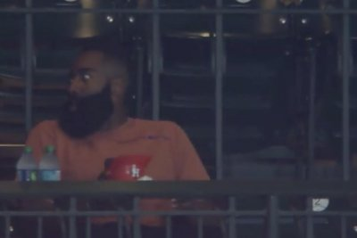 NBA MVP favorite James Harden enjoys Astros game, ice cream out of mini helmet