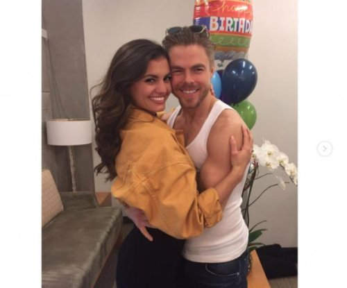 Derek Hough celebrates 32nd birthday with girlfriend Hayley Erbert