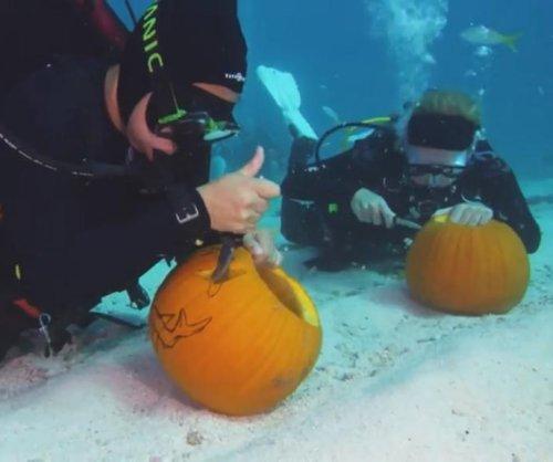 Scuba divers compete in underwater pumpkin carving