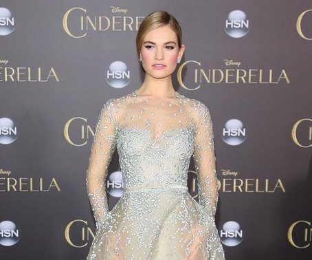 Lily James wears fairy tale dress to 'Cinderella' premiere