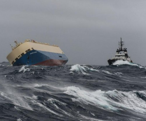 Tow cable attached to out-of-control cargo ship off France