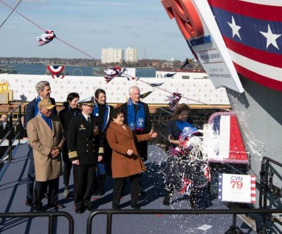 Caroline Kennedy christens Navy's new John F. Kennedy aircraft carrier