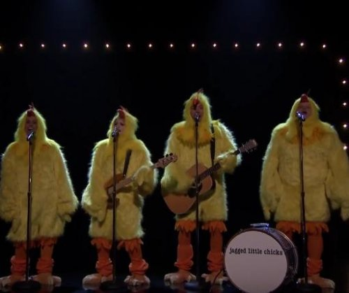 Alanis Morissette, Meghan Trainor cluck 'Ironic' as chickens