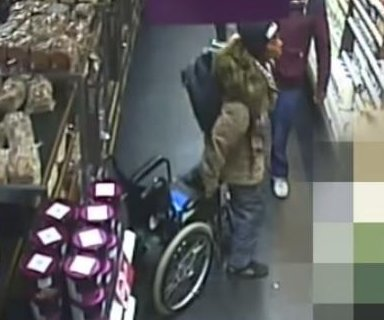 Woman in wheelchair stands up to shoplift