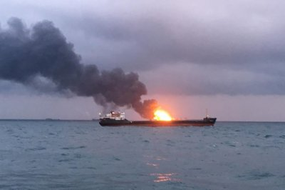 Blast catches 2 ships on fire in Kerch Strait, killing at least 10