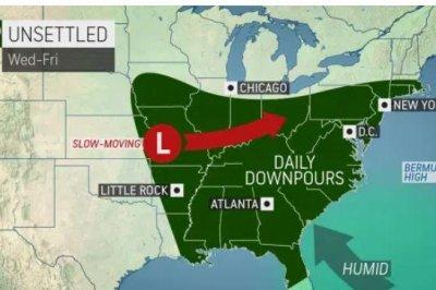 Wet weather tightens grip on eastern half of US this week