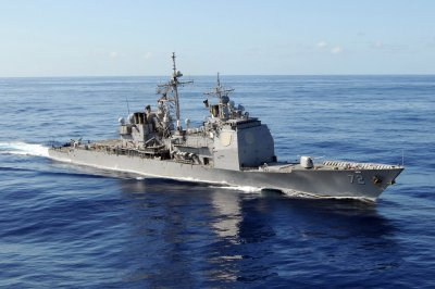 USS Vella Gulf docked at Norfolk for repairs to main reduction gear