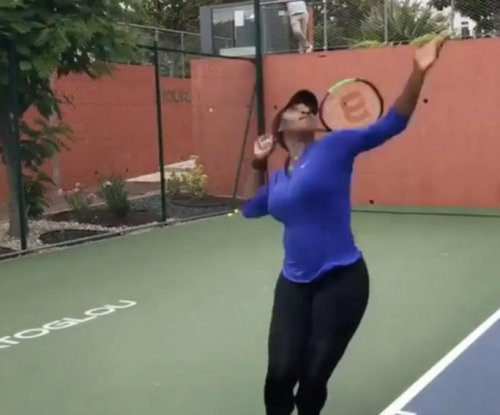 Serena Williams shows off serve for first time since French Open