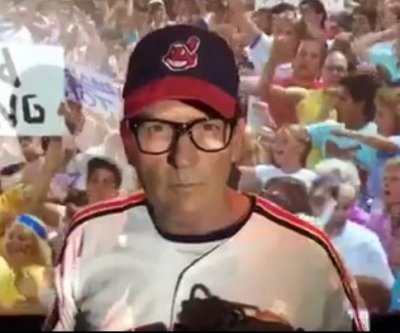 "Watch: Charlie Sheen revives ""Wild Thing"" for Cleveland Indians' World Series"