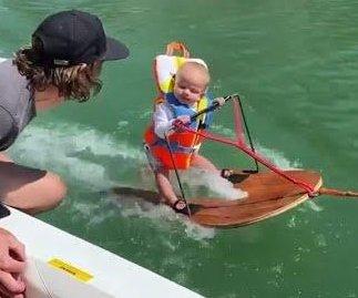 Watch: 6-month-old baby goes water skiing in Utah