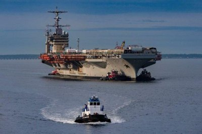 Overhaul of aircraft carrier USS George Washington hits halfway point