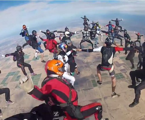 'Head Up' skydiving record recorded on helmet cam
