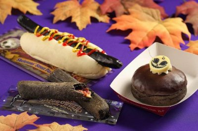 Black hot dog tops Tokyo Disney Halloween menu