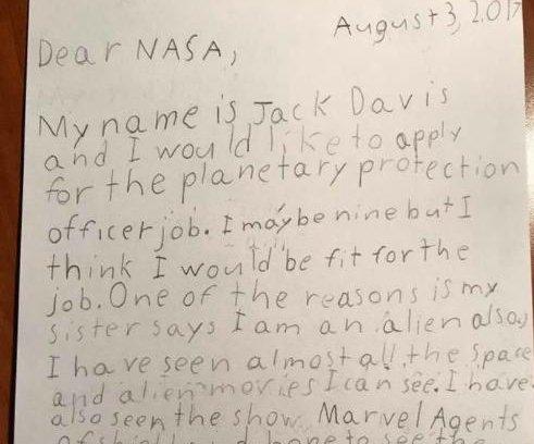 9-year-old applies for NASA planetary protection job