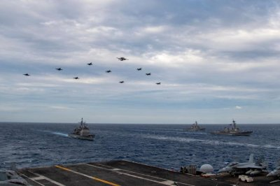 Two U.S. carrier strike groups train in South China Sea