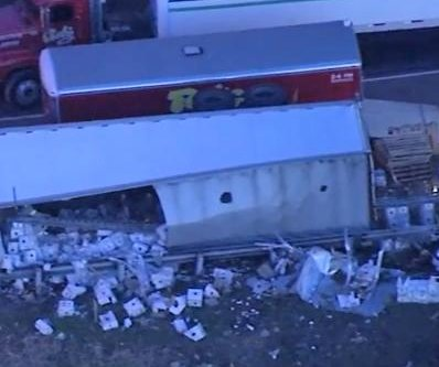 Overturned truck spills vodka onto Pennsylvania highway