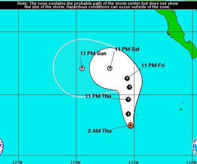 Tropical Storm Kevin forms 500 miles off California