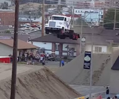 Semi truck jumps 166 feet at Evel Knievel Days