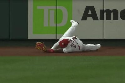 Cardinals' Marcell Ozuna tries to rob home run, face-plants onto warning track