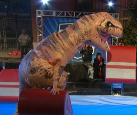 'Jurassic parkour:' Tyrannosaurus Rex takes on 'American Ninja Warrior' course
