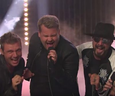 James Corden performs 'Everybody' alongside the Backstreet Boys on 'Late Late Show'