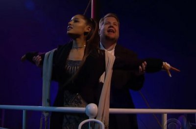 Corden, Grande perform live, musical version of 'Titanic'