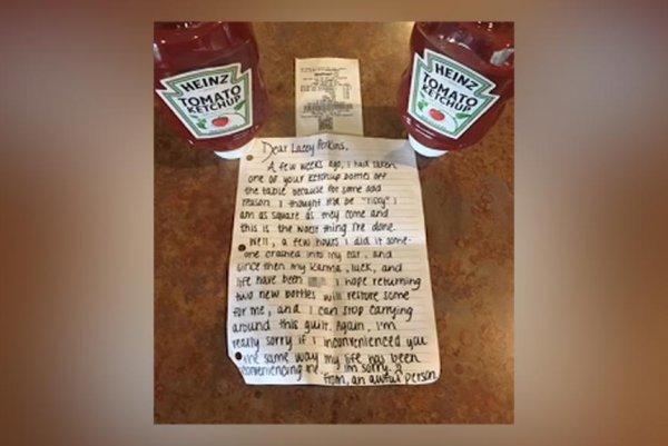 Watch: Bad 'karma' inspires ketchup thief to make amends to