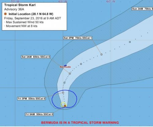 Tropical Storm Karl chugs to Bermuda; tropical storm warnings posted