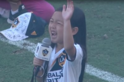 Girl belts out national anthem before LA Galaxy game