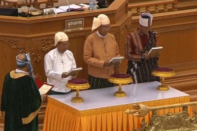 Myanmar swears in first elected civilian president