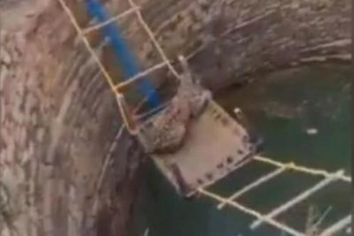Rope ladder, cot used to hoist leopard out of well