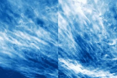 Electric blue clouds photographed by NASA weather balloon