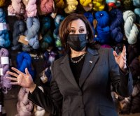 Kamala Harris visits woman-owned yarn store to discuss American Rescue Plan