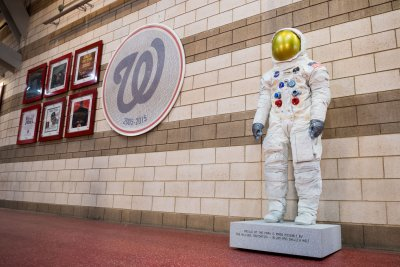 First of 15 replicas of Neil Armstrong's spacesuit unveiled at Nationals Park
