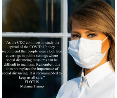 Melania Trump sports face mask in coronavirus PSA