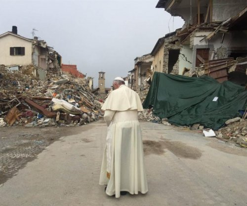 Pope Francis visits Italian town devastated by August earthquake