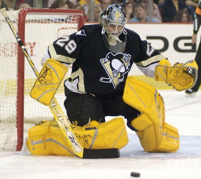 PENGUINS FLEURY MAKE SAVE AGAINST RANGERS